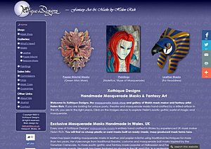 Web design and development for a Welsh artist making bespoke masquerade masks